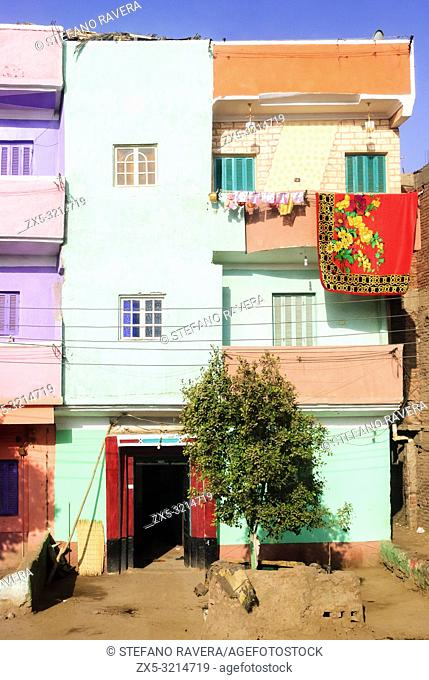 Coloured House facade along the west bank of the Nile - Lower Egypt