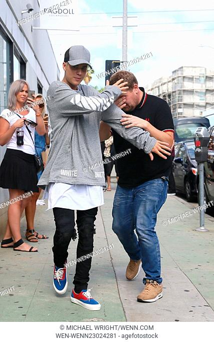 Justin Bieber and James Corden seen at the training loft to film for James Show Featuring: Justin Bieber, James Corden Where: Los Angeles, California