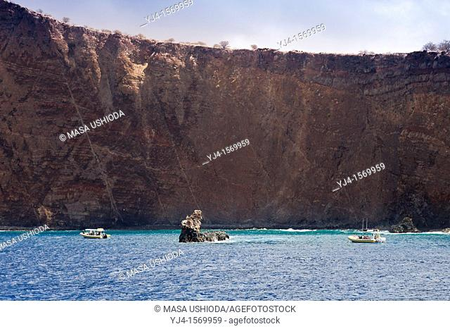 Moku Naio aka Shark Fin Rock, a popular dive site, Kaholo Pali sea cliff , 194 feet 59 13m high, South Lana'i, Lana'i aka Pineapple Island because of its past...