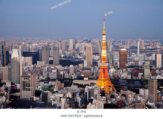 Asia, Japan, Tokyo, Roppongi, Tokyo Tower, City, Skyline, View, Tower, Aerial, Night, View, Illumination, Evening, Dusk, Tourism, Holiday, Vacation, Travel