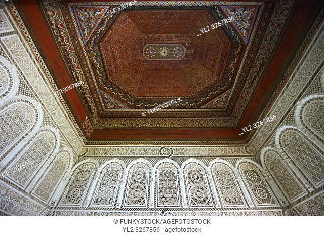 Mocarabe Berber arabesque plasterwork and wood inlaid ceiling. The Petite Court, Bahia Palace, Marrakesh, Morroco