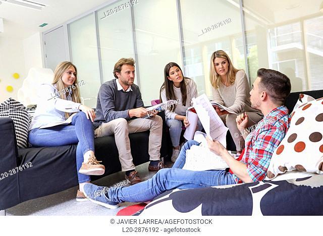 Group of students, Rest area, University, Donostia, San Sebastian, Basque Country, Spain