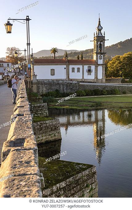 Church of Santo Antonio da Torre Velha over Lima River in Ponte de Lima city, part of the district of Viana do Castelo, Norte region of Portugal