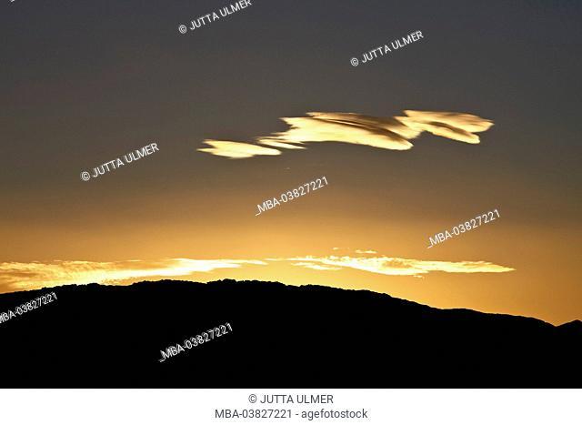 Chile, Valle de la Luna, clouds, sundown