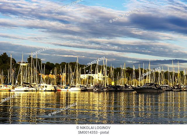 Oslo yacht club sunset landscape background hd