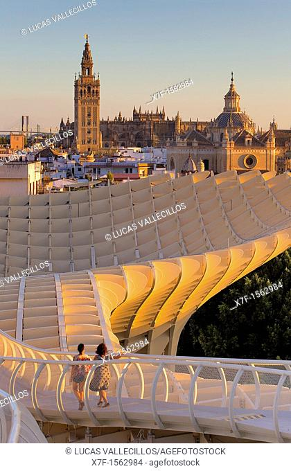 Top of Metropol Parasol and the cathedral,from Plaza de la Encarnación,Sevilla,Andalucía,Spain