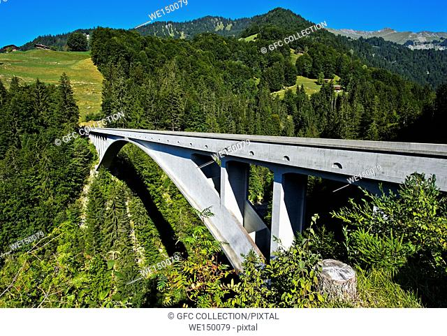 Engineering landmark Salginatobel Bridge, a reinforced concrete three-hinged arch bridge, candidate for the list of UNESCO world heritage, Schiers