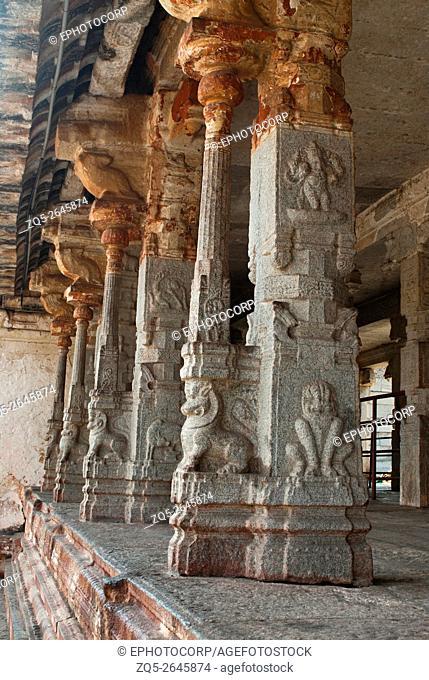 Pillared cloisters or prakara in the second courtyard, Virupaksha Temple, Hampi, karnataka, India. Sacred Center