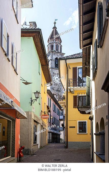 Church tower over village street