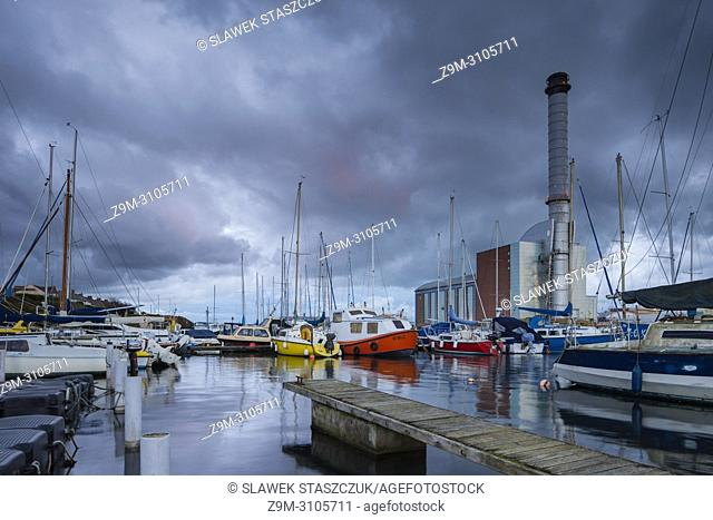 Stormy skies over Shoreham Port in Southwick, West Sussex, England