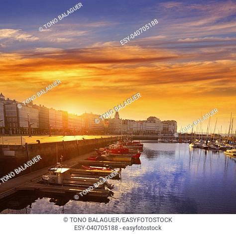 Sunset in La Coruna Port sunrise in Galicia of Spain