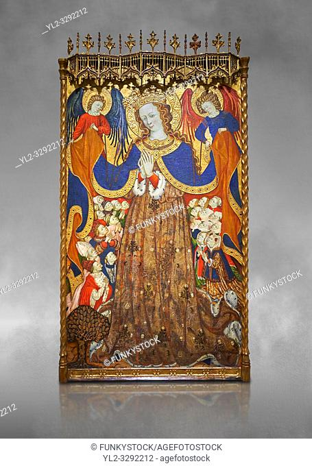 Gothic Catalan altarpiece depicting the Madonna of Mercy by Bonant Zaortiga, circa 1430-1440, tempera and gold leaf on wood