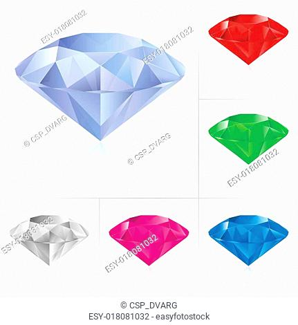Realistic diamonds in different colors