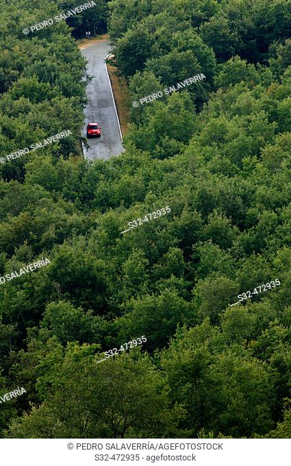 Car and road. Sierra de Cantabria. Meano. Navarra. Spain