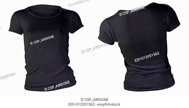 women's blank black t-shirt template