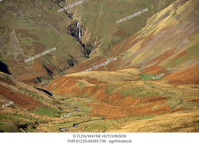 View of fell valley with waterfall in distance, Cautley Crag and Yarlside with Cautley Spout inbetween, Sedbergh, Howgill Fells, Cumbria, England, November