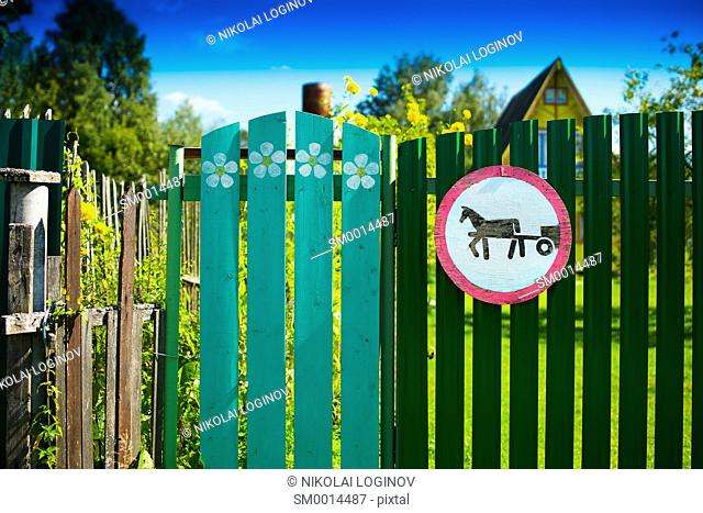 Horse road sign on countryside fence background hd