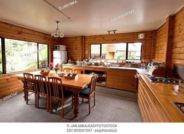Lodge breakfast room interior Fox Glacier Lodge, Fox Glacier, West Coast, South Island, New Zealand