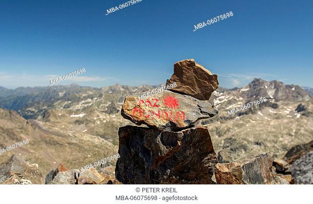 hiking path, stone, mark, Paz Mundial, mountains, alpine tour