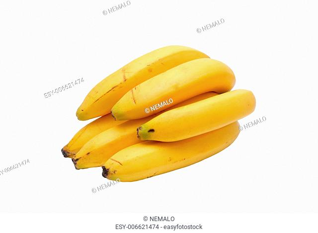 Some yellow bananas on a white background