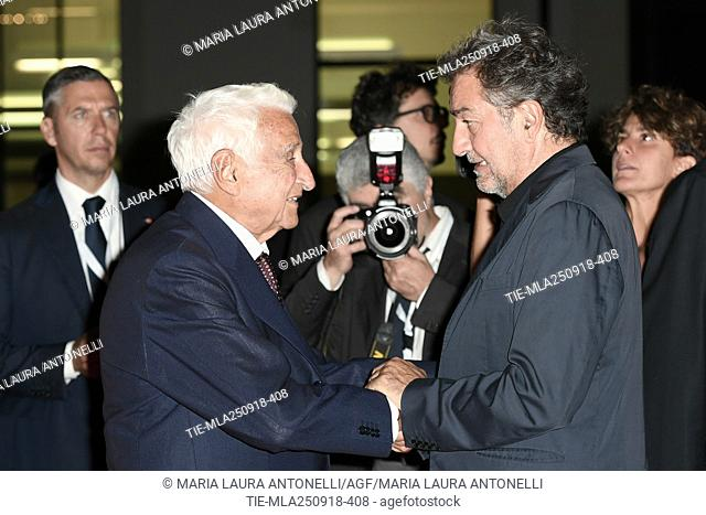 Fulvio Lucisano and producer Pietro Valsecchi during red carpet of 60/90 party, for 60 years of career and ninetieth birthday of Fulvio Lucisano