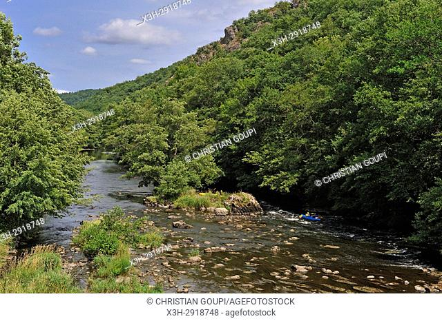 the Sioule River seen from the Braynand Bridge at Chateauneuf-les-Bains, Puy-de-Dome department, Auvergne-Rhone-Alpes region, France, Europe