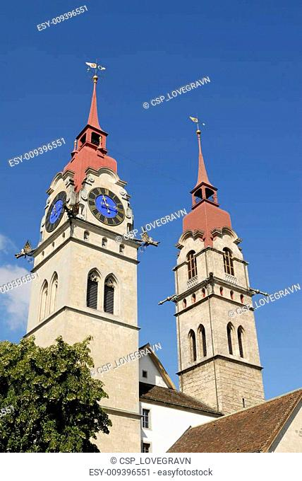 Winterthur - the towers from the city cathedral - Kanton Zurich, Switzerland, Europe