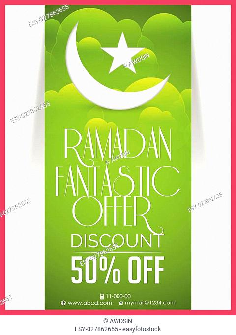 creative vector abstract or flyer for Ramadan Fantastic Offer with green coloured textured background