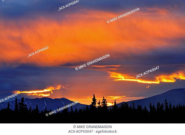 Clouds at sunset on the Alaska Highway, near Whitehorse, Yukon, Canada