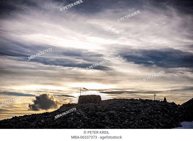 Lonely ridge, silhouette, vane, clouds, afterglow, Tracuit, Lonely death, Switzerland, alps