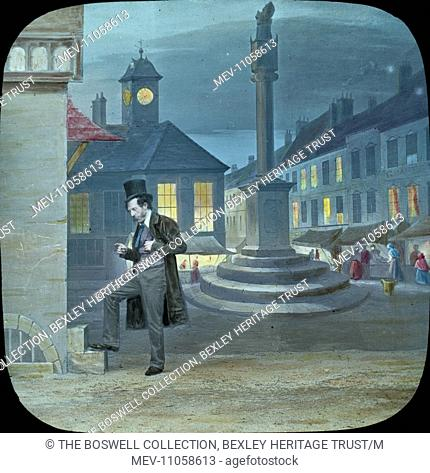 Dan listening to bells - Dan in street listening to bells. Part of Box 52 Boswell collection. Nursery Rhymes