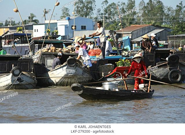 People in boats on a canal, Mekong Delta, Vietnam, Asia