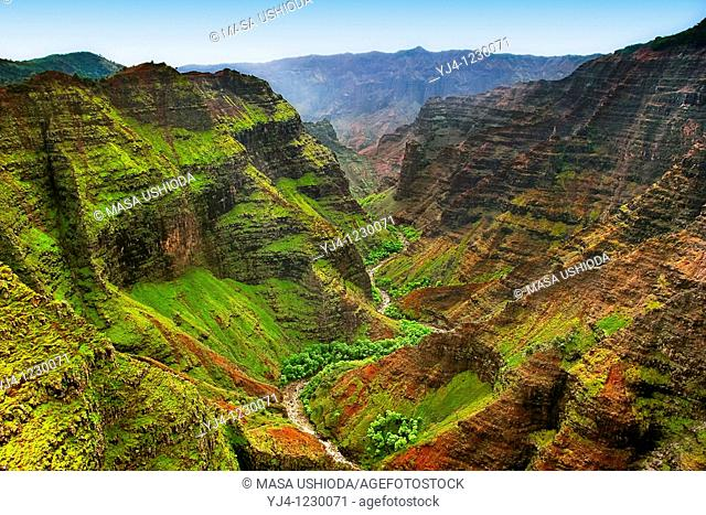 Waimea Canyon, the Grand Canyon of the Pacific, approximately one mile wide and ten miles long, more than 3,500 feet deep, Waimea Canyon State Park, Kauai