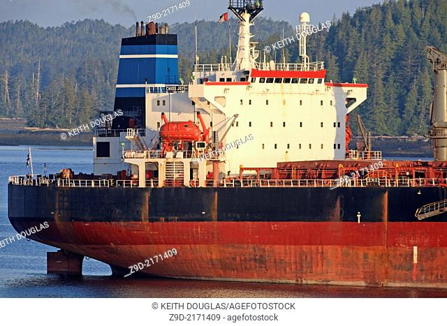 Bulk carrier freighter in harbour, Prince Rupert, BC