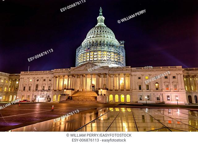 US Capitol North Side Construction Congress House Representatives Senate Capital City Night Stars Washington DC Reflection