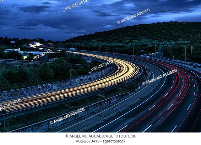 Highway to the Sierra de Guadarrama. Spain