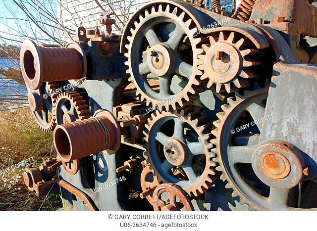 Gears on an old piece of ship winch machinery