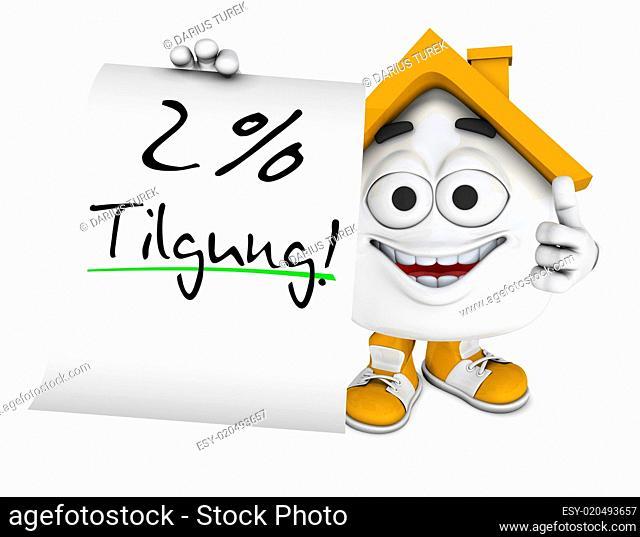 Kleines 3D Haus Orange - 2 Prozent Tilgung