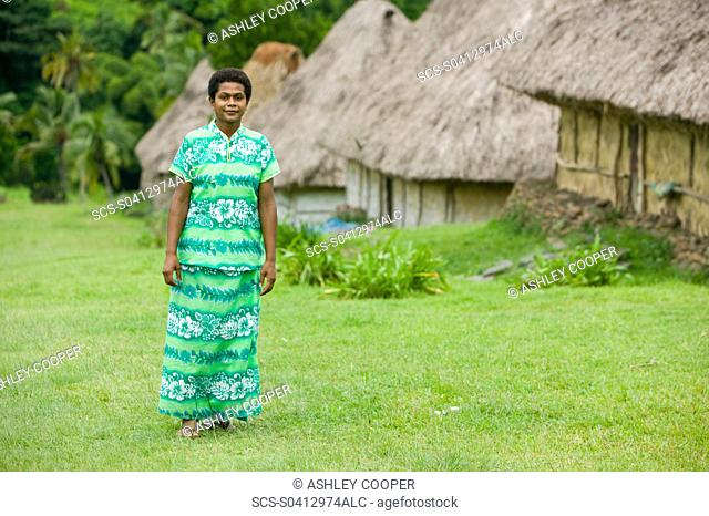 A Fijian women in Navala village in the Fijian highlands the only village left on the island still composed entirely of traditional Bure houses