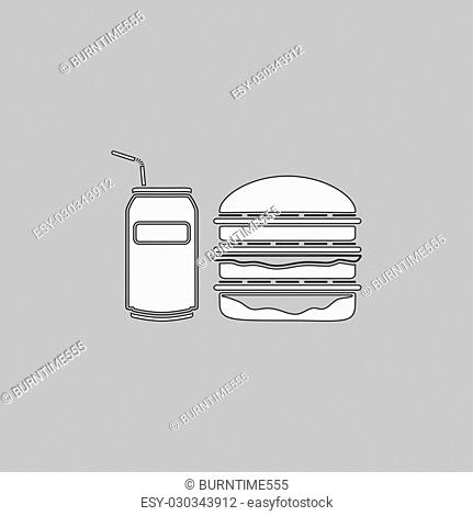 fast food Simple line vector button. Thin line illustration icon. White outline symbol on grey background