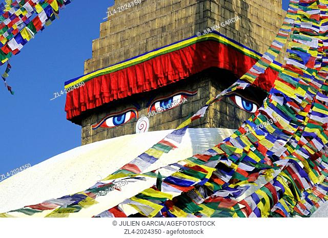 The eyes of Buddha on Bodnath stupa in Kathmandu. Nepal, Kathmandu, Bodnath