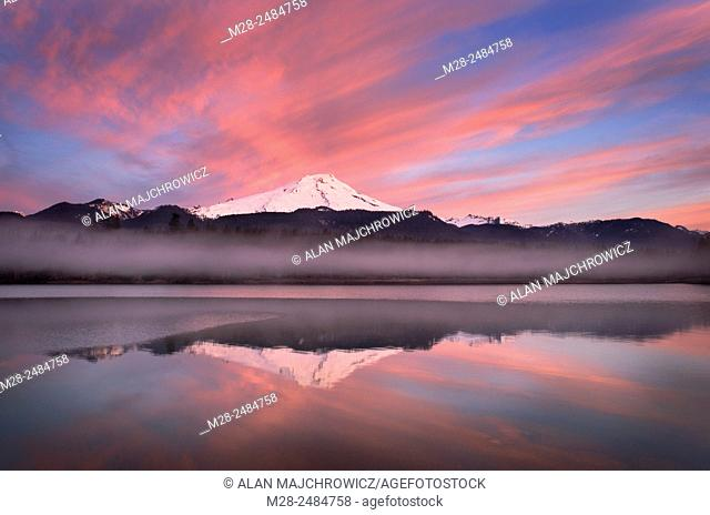 Sunrise over Mount Baker (elevation 10,778feet (3,285m) and Baker Lake, North Cascades Washington