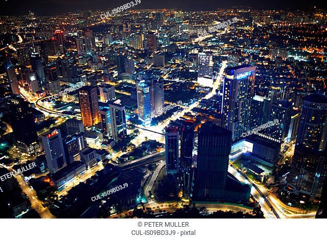 Cityscape, illuminated at night, high angle view, Kuala Lumpur, Malaysia