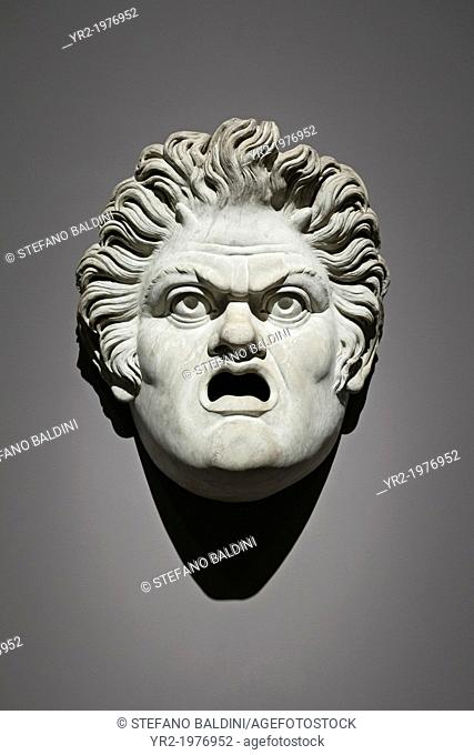Mask of a satyr, first half of the second century, white marble,museo nazionale romano, found at the terme di Diocleziano, Rome, Italy