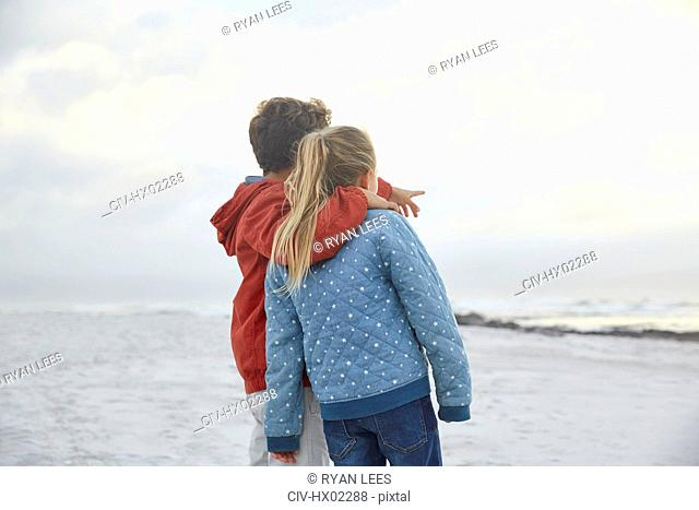 Affectionate brother and sister looking at winter ocean