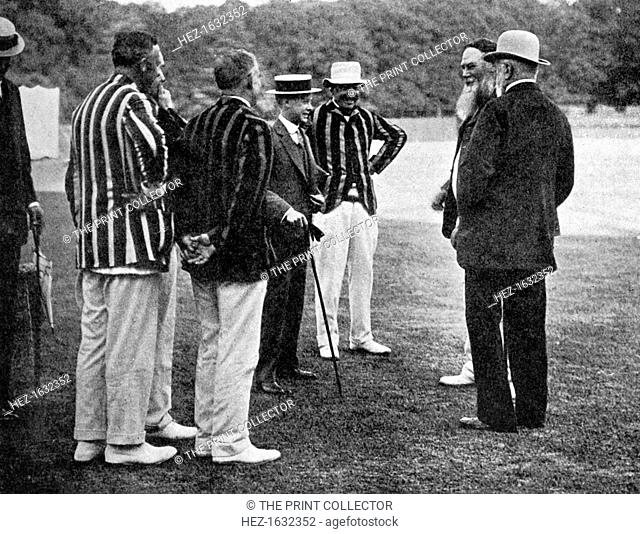 Royal cricketers at Cumberland Lodge, Windsor Great Park, Berkshire, 1911 (1912). Featured are Prince Christian Victor of Schleswig-Holstein, Edward