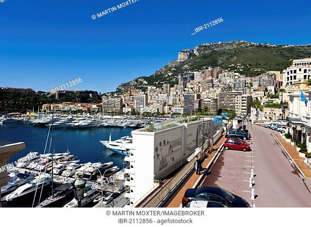 View from Ave de Ostende towards the port and Monte Carlo, Principality of Monaco, Europe, PublicGround