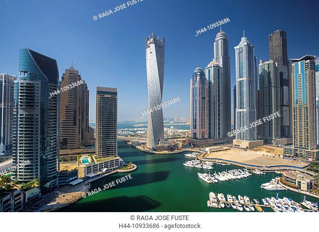 United Arab Emirates, UAE, Dubai, City, Dubai Marina, Infinity, Building, architecture, boat, boats, buildings, construction, futuristic, harbour, infinity