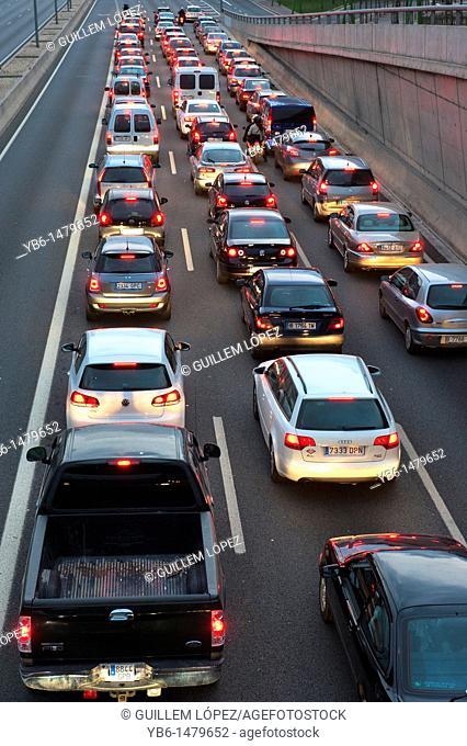 Traffic jam at the motorway entering Barcelona, Spain