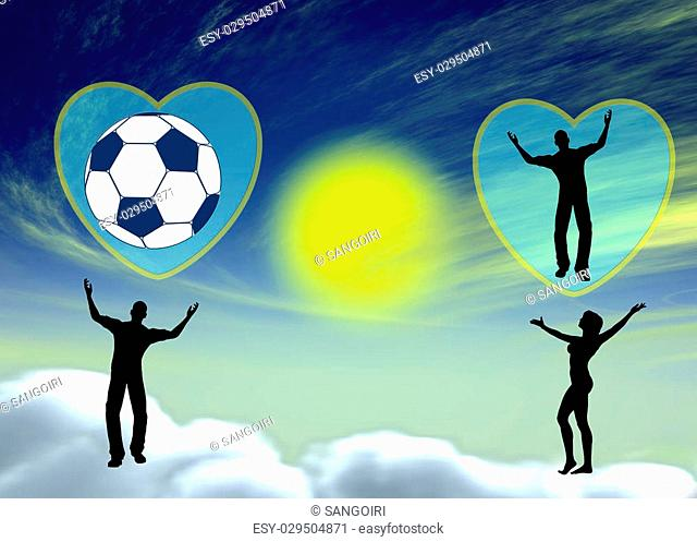 Satirical concept sign of couple in heaven on cloud nine with different passions, he loves football, she loves him